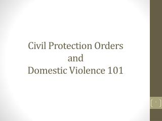 Civil Protection Orders  and  Domestic Violence 101