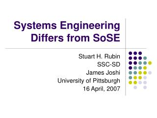 Systems Engineering Differs from SoSE