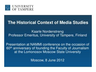 The Historical Context of Media Studies