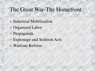 The Great War-The Homefront