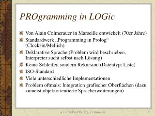 PROgramming in LOGic