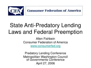 State Anti-Predatory Lending Laws and Federal Preemption