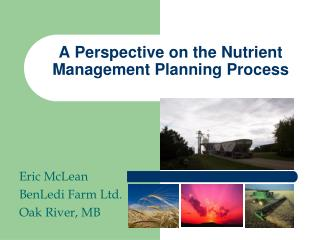 A Perspective on the Nutrient Management Planning Process