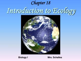 Chapter 18 Introduction to Ecology