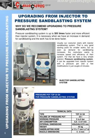 UPGRADING FROM INJECTOR TO PRESSURE SANDBLASTING