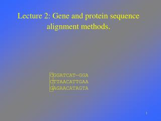 Lecture 2: Gene and protein sequence alignment methods .