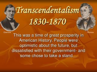 Transcendentalism 1830-1870