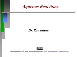 Aqueous Reactions