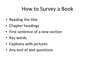 How to Survey a Book