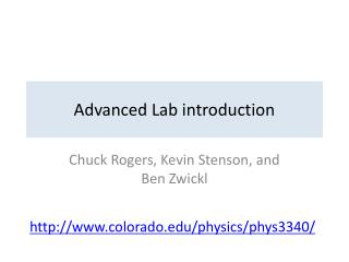 Advanced Lab introduction