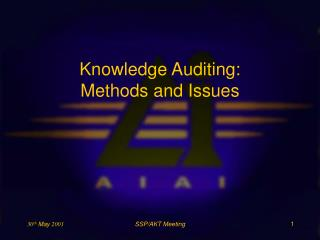 Knowledge Auditing: Methods and Issues