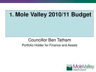 1. Mole Valley 2010/11 Budget Councillor Ben Tatham Portfolio Holder for Finance and Assets