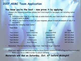 2007 AKMC Team Application