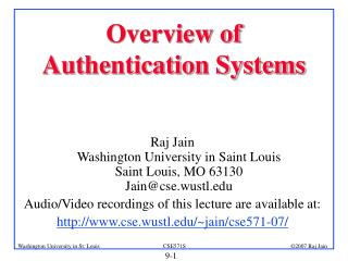 Overview of Authentication Systems