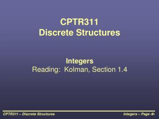CPTR311 Discrete Structures