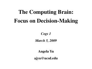 The Computing Brain: Focus on Decision-Making