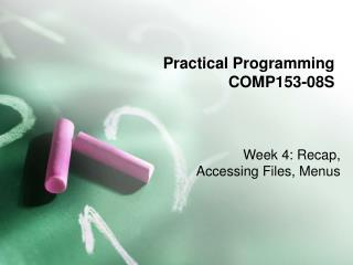 Practical Programming COMP153-08S