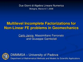 Multilevel Incomplete Factorizations for Non-Linear FE problems in Geomechanics