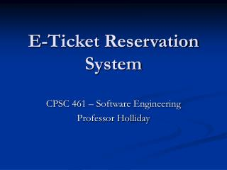E-Ticket Reservation System