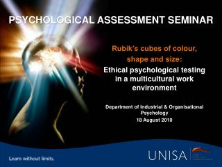 Psychological Assessment Seminar