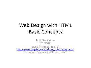 Web Design with HTML Basic Concepts