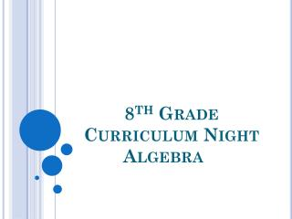 8 th  Grade Curriculum Night   Algebra