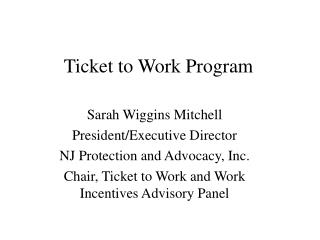 Ticket to Work Program