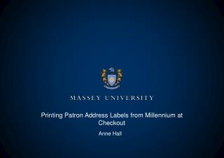 Printing Patron Address Labels from Millennium at Checkout