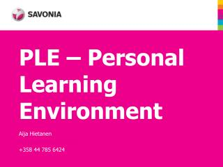 PLE – Personal Learning Environment