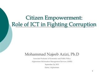 Citizen Empowerment: Role of ICT in Fighting Corruption