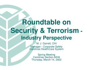 Roundtable on Security & Terrorism  -  Industry Perspective