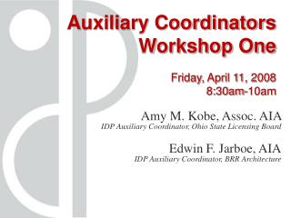 Auxiliary Coordinators Workshop One Friday, April 11, 2008  8:30am-10am