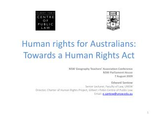Human rights for Australians: Towards a Human Rights Act