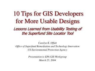 10 Tips for GIS Developers  for More Usable Designs