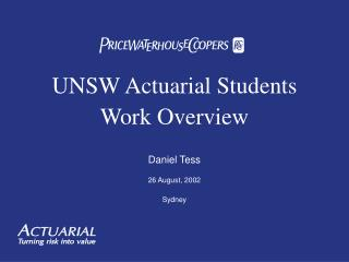 UNSW Actuarial Students Work Overview