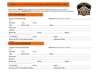 AVIANO H.O.G. CHAPTER 9239 ENROLLMENT/RENEWAL FORM