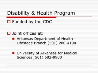 Disability & Health Program