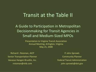 Transit at the Table II
