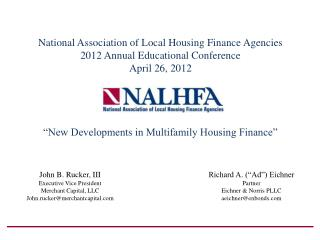 National Association of Local Housing Finance Agencies 2012 Annual Educational Conference