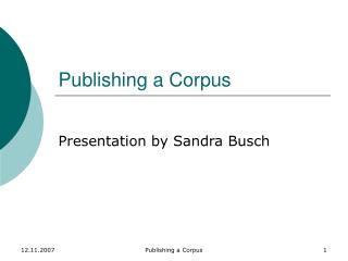 Publishing a Corpus