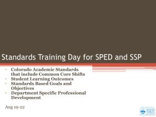 Standards Training Day for SPED and SSP