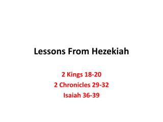 Lessons From Hezekiah
