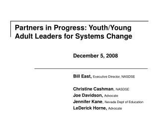 Partners in Progress: Youth/Young Adult Leaders for Systems Change