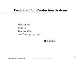 Push and Pull Production Systems