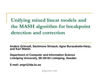 Unifying mixed linear models and the MASH algorithm for breakpoint detection and correction