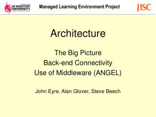 Architecture The Big Picture Back-end Connectivity Use of Middleware (ANGEL)