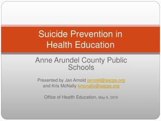 Suicide Prevention in Health Education