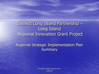 Connect Long Island Partnership – Long Island  Regional Innovation Grant Project