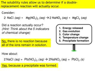 The solubility rules allow us to determine if a double-replacement reaction will actually occur.