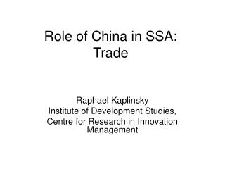 Role of China in SSA: Trade